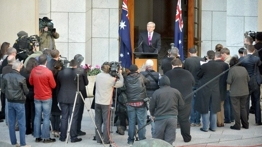 Australia's Prime Minister Kevin Rudd addresses the media after calling a general election, in Canberra, on August 4, 2013. Rudd named September 7 as election day, hoping to complete a stunning political comeback by keeping the centre-left Labor Party in power three years after it ousted him.