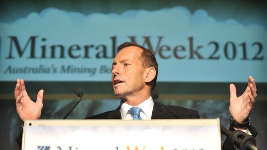 Australian Opposition Leader Tony Abbott, pictured at the annual minerals week conference in Canberra, on May 30, 2012. Kevin Rudd has re-energised Labor but in the first poll since the September 7 election was announced, the Abbott-led conservative coalition continues to lead on a two-party basis -- 52 to 48 percent, unchanged from two weeks ago.