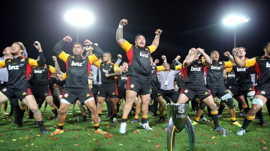 Chiefs perform a victory Haka after their win in the Super 15 final against the ACT Brumbies, at Waikato Stadium in Hamilton, New Zealand, on August 3, 2013. The Chiefs won 27-22.