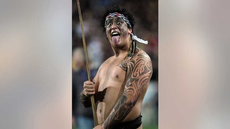 A Chiefs warrior welcomes the teams onto the field before their Super 15 final match between the Chiefs and the Brumbies, at Waikato Stadium in Hamilton, New Zealand, on August 3, 2013. The Chiefs won 27-22.