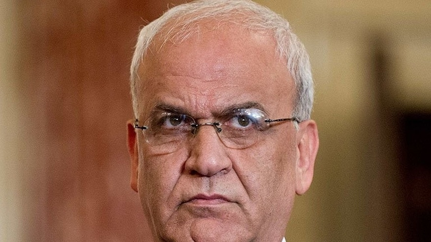 Palestinian negotiator Saeb Erakat attends a press conference at the US State Department in Washington, on July 30, 2013. Erakat says that Israel will free the first batch of a promised 104 long-serving Palestinian and Israeli Arab prisoners on August 13.