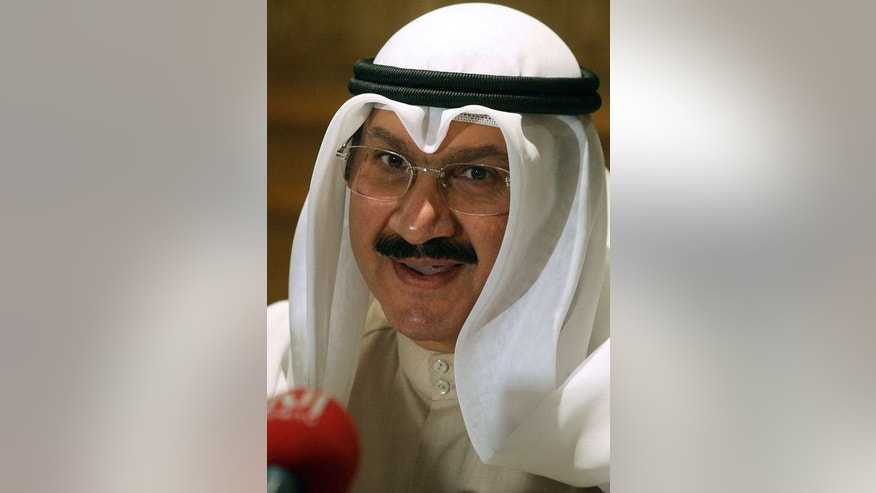 In this file picture dated February 8, 2009, Sheikh Salem Abdulaziz Al-Sabah addresses a press conference in Kuwait City. The former central bank governor has been appointed finance minister in a new cabinet line-up that was announced on August 4, 2013.