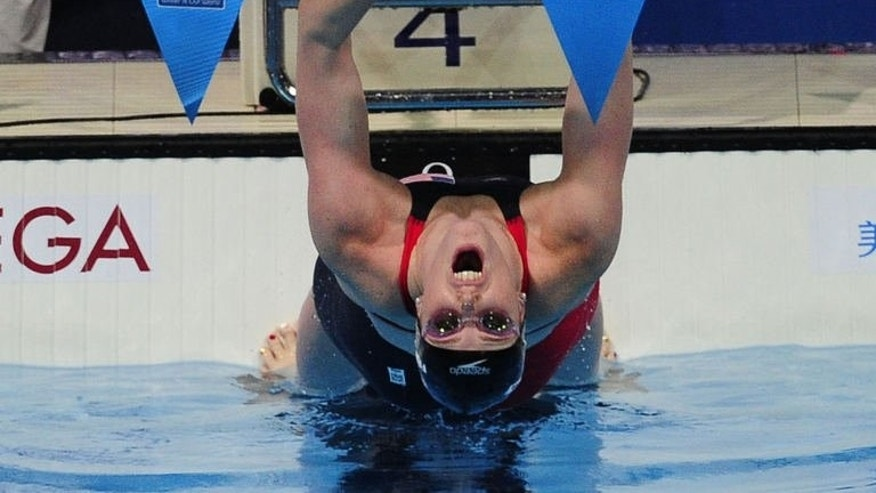 US swimmer Missy Franklin competes in the final of the women's 4x100-metre medley relay swimming event in the FINA World Championships at Palau Sant Jordi in Barcelona on August 4, 2013.