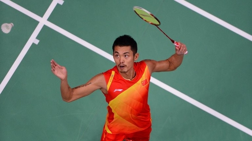 China's Lin Dan eyes a return to Malaysia's Lee Chong Wei during the men's final at the London Olympics on August 5, 2012. Lin emerges Monday from nearly a year on the sidelines to defend his world title, with Lee hoping to beat his nemesis in a major final.
