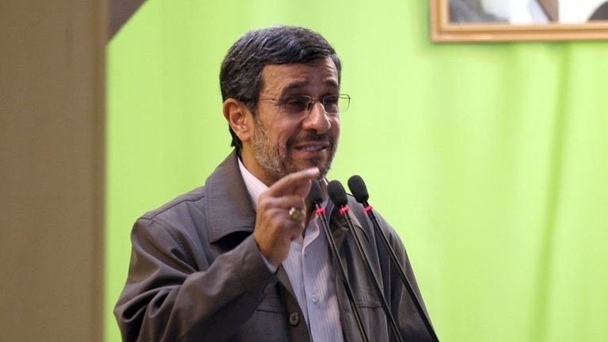 Outgoing Iranian President Mahmoud Ahmadinejad addresses his weekly Friday prayer sermon at Tehran University on August 2, 2013. Iran's supreme leader on Monday appointed Ahmadinejad to the Expediency Council, the country's top political arbitration body headed by an avid critic of the outgoing president.