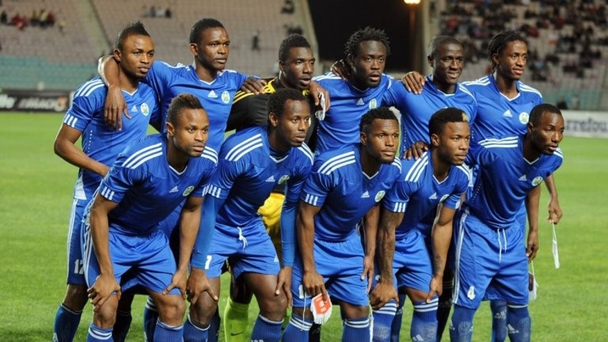 "Sierra Leone's national football team poses before their FIFA 2014 World Cup qualifying match against Tunisia on March 23, 2013 in Tunis. The first female president of Sierra Leone's football federation has said her election signified the ""dawn of a new era"" in the sport and vowed to boost the women's game."