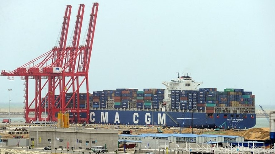 The first ship berths at Colombo International Container Terminal on Monday. The terminal is 85 percent owned by state-run China Merchant Holdings International, with the rest owned by the SLPA. It is designed to handle mega ships with a capacity of over 18,000 containers -- a first for Sri Lanka.