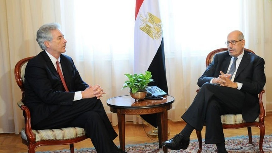 Egypt's Vice President Mohamed ElBaradei (right) holds talks with US Deputy Secretary of State William Burns in Cairo, on August 3, 2013.