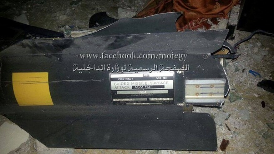 Egypt's Interior Ministry posted these photos on its Facebook page of what it claims was a U.S.-made AGM-114F air-to-surface missile used during an attack in the Sinai Peninsula by Muslim insurgents.
