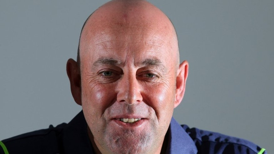 "Australia cricket coach Darren Lehmann speaks to journalists at a press conference in Bristol, southwest England, on June 24, 2013. Lehmann believes his side have exposed some ""cracks"" in England's top-order batting which they will look to widen before the end of this Ashes series."