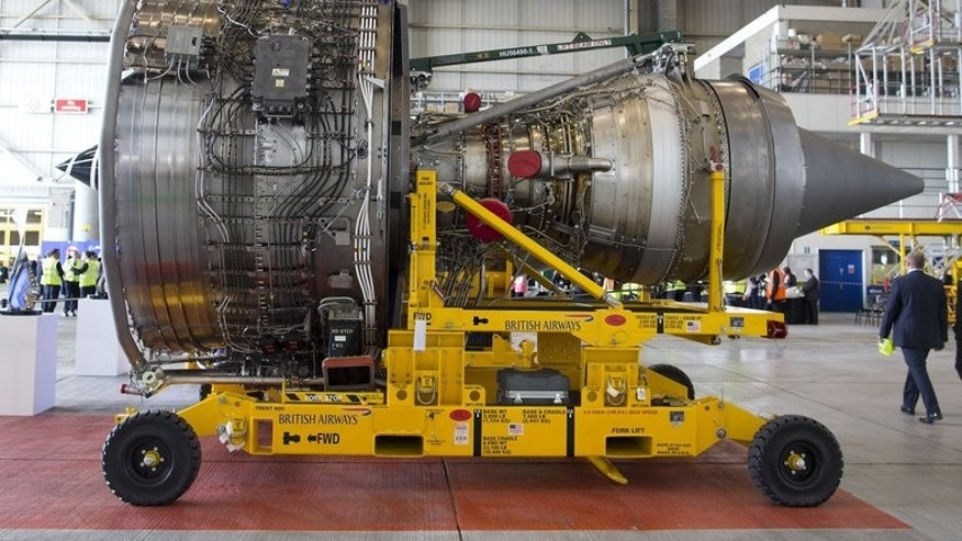 A Rolls Royce Trent 1000 turbofan engine at Heathrow Airport in London on July 4. Britain's manufacturing output rebounded with a bang in June, official data showed on Tuesday, providing further evidence of the country's broad-based economic recovery.