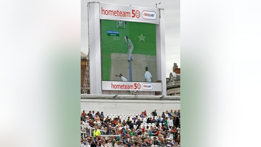 A giant screen shows the result of the Decision Review System, (DRS) being used during a Test match at Trent Bridge in Nottingham, on July 29, 2010. England coach Andy Flower has joined the captains of both sides in calling for improved use of the Decision Review System (DRS) in the remaining two Ashes Tests against Australia.