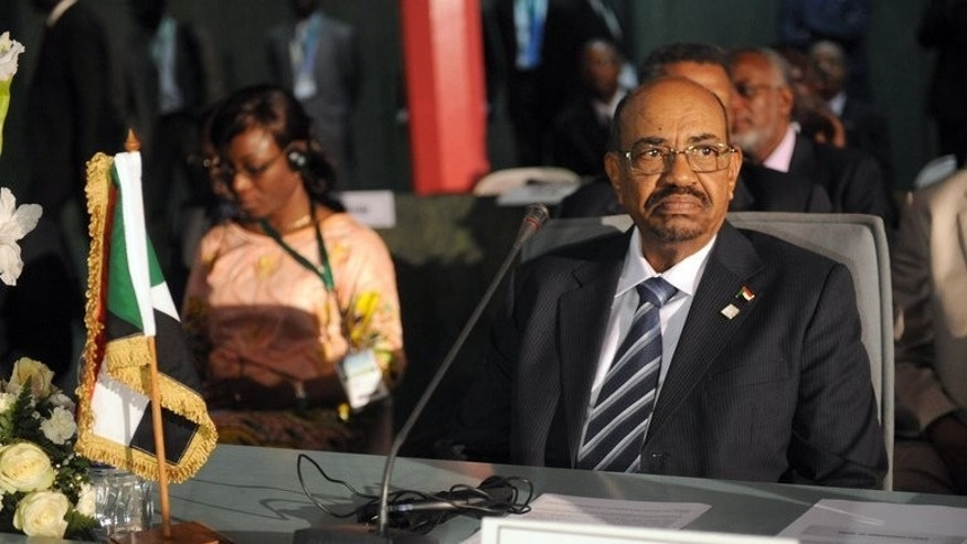 Omar al-Bashir at the African Union Summit on health in Abuja on July 15. A plane carrying the Sudanese president to Tehran at the weekend was blocked from crossing Saudi Arabian airspace because no prior approval had been sought, the kingdom's civil aviation authorities said Tuesday.