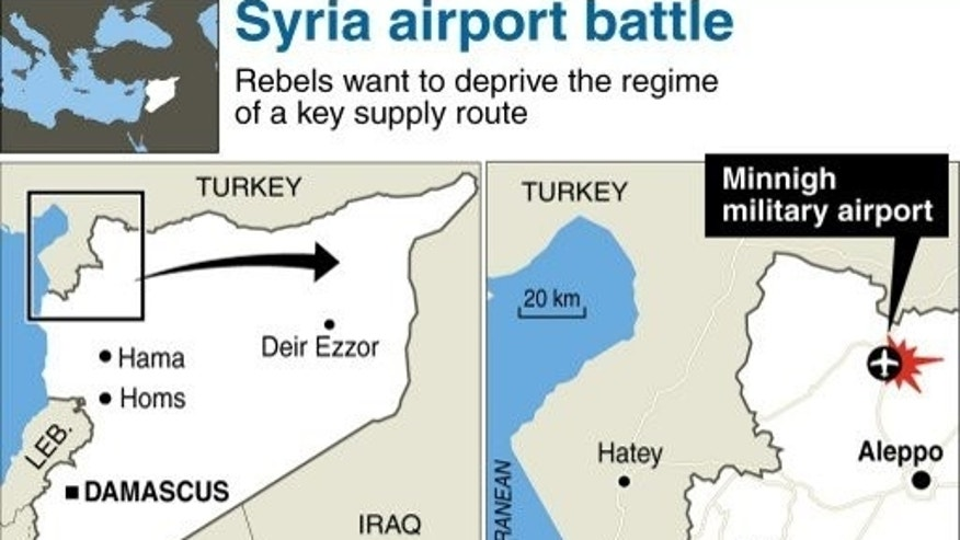 Graphic locating Minnigh airport in northern Syria, which was taken over by rebels on August 6, 2013