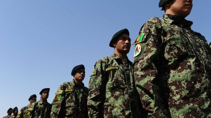 "Afghan National Army soldiers stand in formation during a graduation ceremony at the ANA training centre in Herat on June 20, 2013. Taliban leader Mullah Omar on Tuesday dismissed elections due in Afghanistan next year as ""a waste of time"", posing a challenge to international efforts to ensure a credible poll."