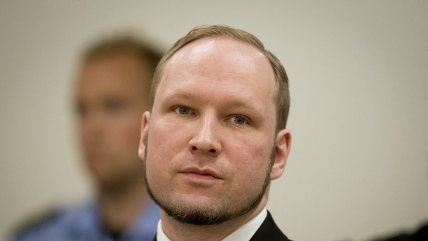 A picture taken on August 24, 2012 shows Anders Behring Breivik in court in Oslo. Mass killer Breivik has had his application to study political science at the University of Oslo rejected, the institution said on Tuesday.