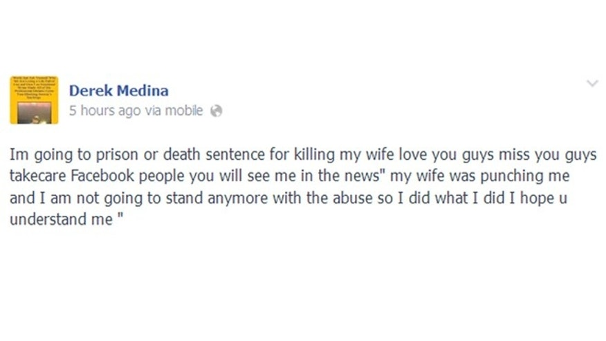 This image taken from the Facebook page identified as Derek Medina's shows a post that appeared on the page preceding a separate post that included a photo of his dead wife, Jennifer Alfonso. Medina, 31, turned himself in Thursday, Aug. 8, 2013, telling them he had shot Alfonso, 26. Detectives didn't immediately give a motive. Charges were pending. (AP Photo)
