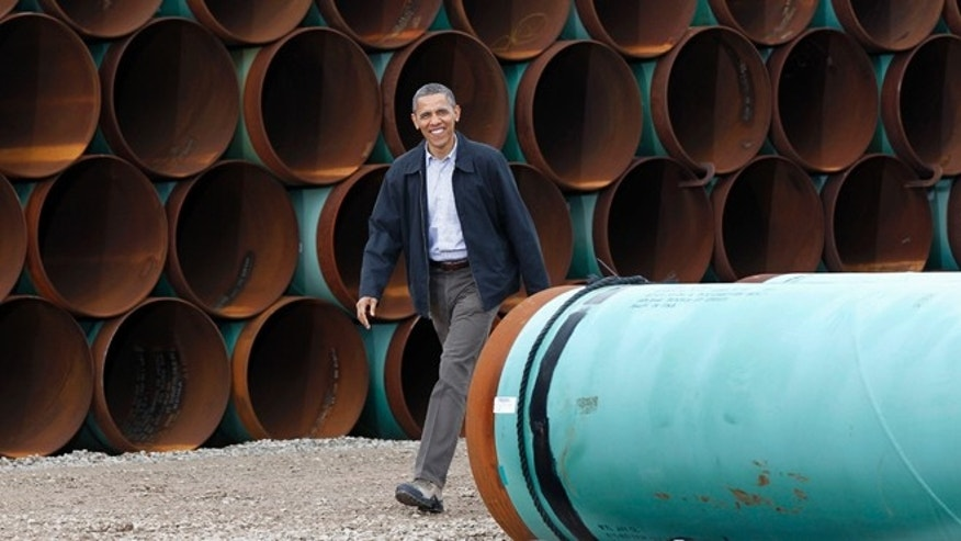 President Obama arriving at the TransCanada Stillwater Pipe Yard in Cushing, Okla. on March 22, 2012.