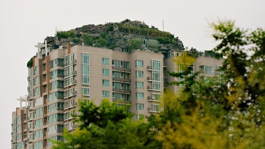 A rooftop apartment surrounded by imitation rocks in Beijing on August 11, 2013. An eccentric Beijing resident has built a huge house among what looks like a pile of rocks dotted with trees on top of a 26-storey apartment block in the capital, reports said Monday.