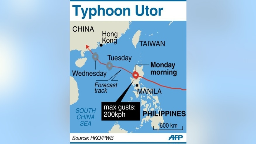 Graphic showing the path of Typhoon Utor as it slams into the Philippines packing gusts of up to 200 kilometres per hour on August 12, 2013.