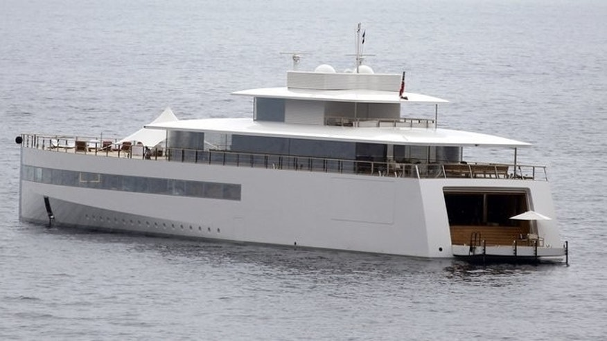 "The yacht ""Venus"", designed by French designer Philippe Starck for Steve Jobs, is moored on July 14, 2013 in Eze, France. The Emirati royal family has dethroned Russian billionaire Roman Abramovich in the race to own the world's biggest mega-yacht, Yachts France magazine has reported."