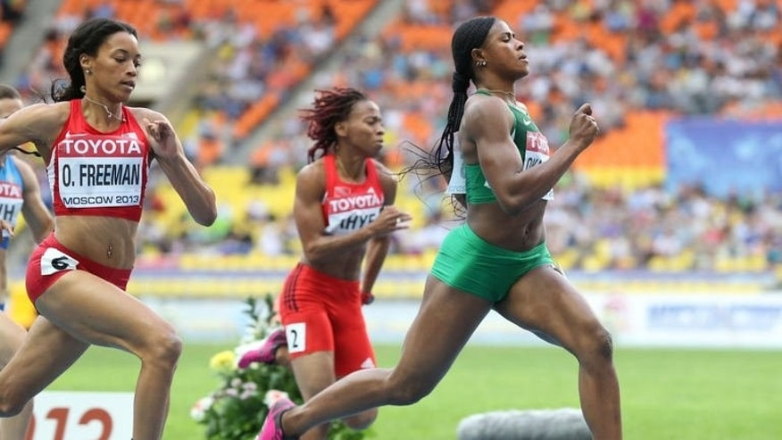 Nigeria's Blessing Okagbare wins the women's 100 metres semi-final at the 2013 IAAF World Championships at the Luzhniki stadium in Moscow on August 12, 2013.