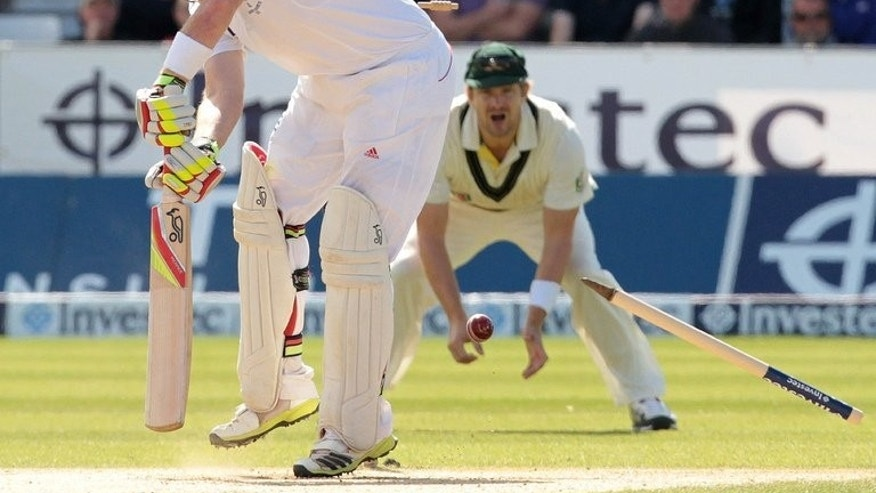 England batsman Ian Bell loses his wicket to Australia's Ryan Harris (not pictured) for 113 runs during the fourth day of the fourth Ashes cricket test match between England and Australia at Chester-le-Street in Durham, north-east England, on August 12, 2013. Harris took his Test-best figures but Australia were still set a target of 299 to win the fourth Ashes match against England.