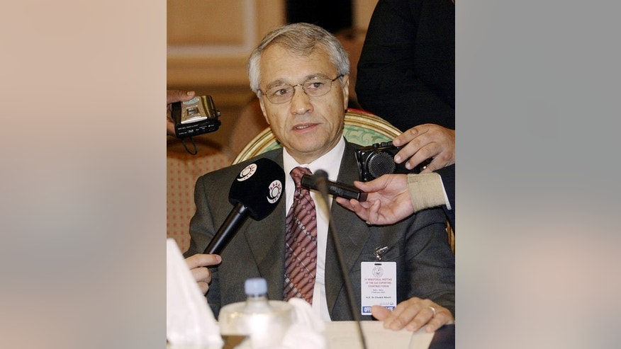 Chekib Khelil answers questions at the Gas Exporting Countries Forum in Doha, Qatar on February 4, 2003. International arrest warrants have been issued for former energy minister Chekib Khelil and eight others in connection with a corruption case at energy firm Sonatrach, Algeria's prosecutor general said on August 12, 2013.