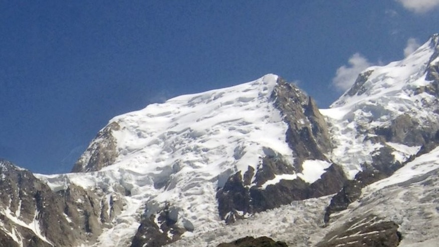 View of the Mont-Blanc du Tacul near Chamonix, where two Italian mountaineers were killed by an avalanche on August 13, 2013.