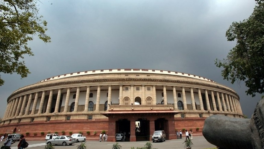 "Indian lawmakers arrive at Parliament House in New Delhi, on July 25, 2006. A furious speaker of India's upper house of parliament has accused lawmakers of behaving like a ""federation of anarchists"" after more unruly behaviour which has paralysed decision-making in recent years."
