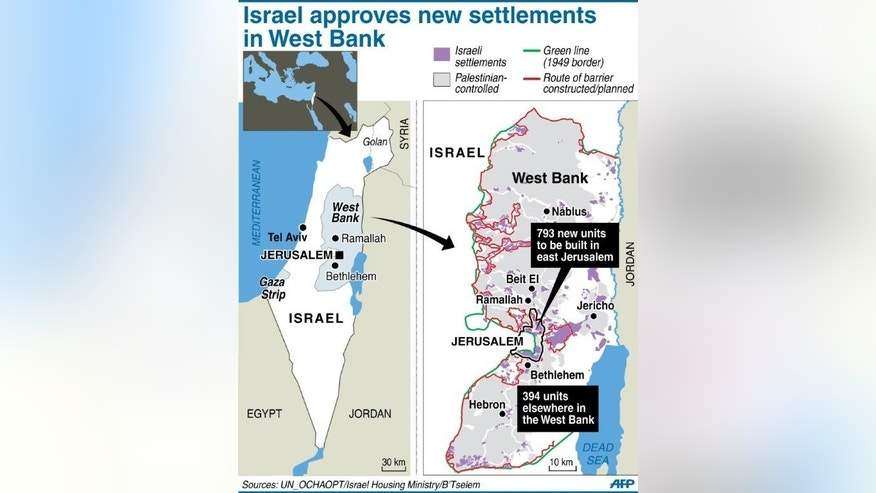 Graphic map of the West Bank showing where the Israeli housing ministry has approved construction of 1,000 settler homes.