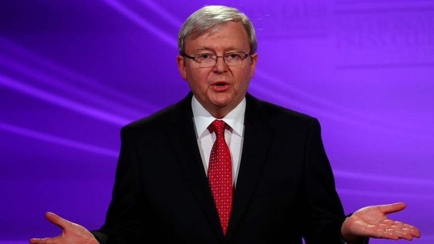 "Australian Prime Minister Kevin Rudd during a debate with conservative opposition leader Tony Abbott on August 11, 2013. He said Wednesday there was ""no place"" for sexism, racism or homophobia in Australia as Abbott laughed off his touting of a candidate's sex appeal."
