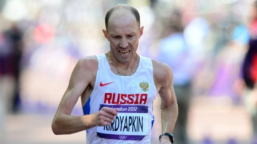 Russia's Sergey Kirdyapkin competes in the men's 50km race walk at the London Olympics on August 11, 2012. Russia will be gunning for a third and final race walk gold in the fifth day of action at the World Athletics Championships on Wednesday.
