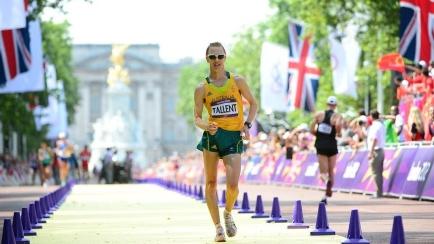 Australia's Jared Tallent competes to win the silver medal at the London Olympics 50km race walk on August 11, 2012. He has also been a medallist in Beijing, Daegu and London without taking the biggest prize yet.