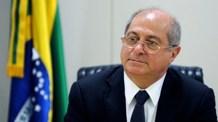 Brazilian Minister of Communications, Paulo Bernardo, speaks to journalists in Brasilia, on May 2, 2013. Brazil said Wednesday that it may go to the United Nations over US spying, which it said was not only used to combat terrorism, but also for industrial espionage. 'We are not satisfied with the explanations presented' by US Secretary of State John Kerry, Bernardo said.