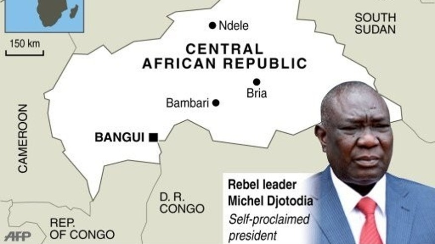 Graphic map of the Central African Republic, with photo of self-proclaimed president Michel Djotodia