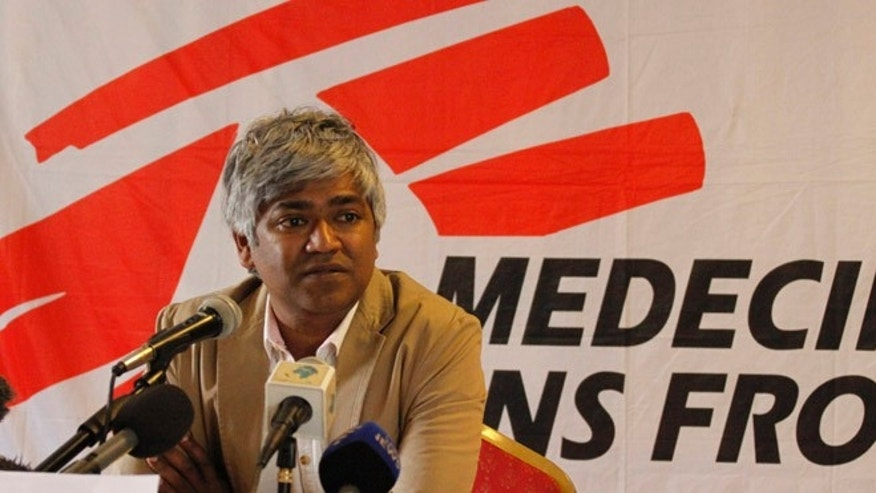 Aug. 14, 2013: Medecins Sans Frontiers (MSF) International President Dr. Unni Karunakara addresses journalists during a press conference in Nairobi, Kenya.