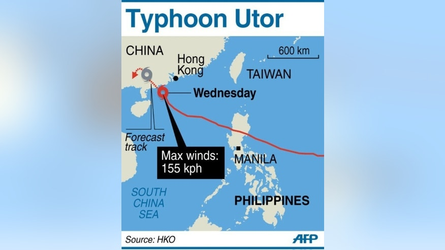 Graphic map showing the path of Typhoon Utor as it shuts down Hong Kong and heads towards the coast of China's Guangdong province on Wednesday.