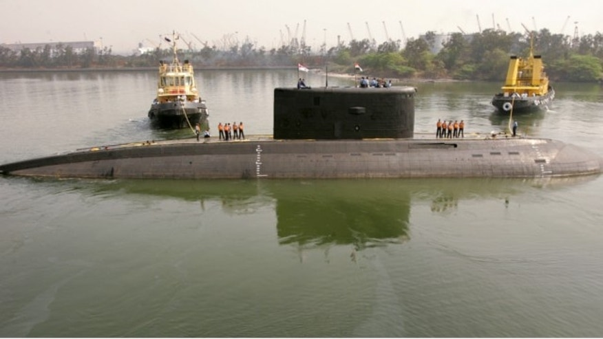 The Indian Navy's Sindhurakshak submarine is seen in Visakhapatnam in this February 13, 2006 file photo. (REUTERS)