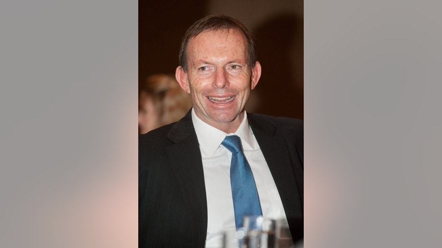 Australian opposition leader Tony Abbott, pictured during a gathering in Beijing, on July 24, 2012. Despite having an openly gay sister, Abbott is opposed to same-sex marriages, in contrast to election rival Prime Minister Kevin Rudd, who has vowed to introduce a bill legalising the unions if returned to office.