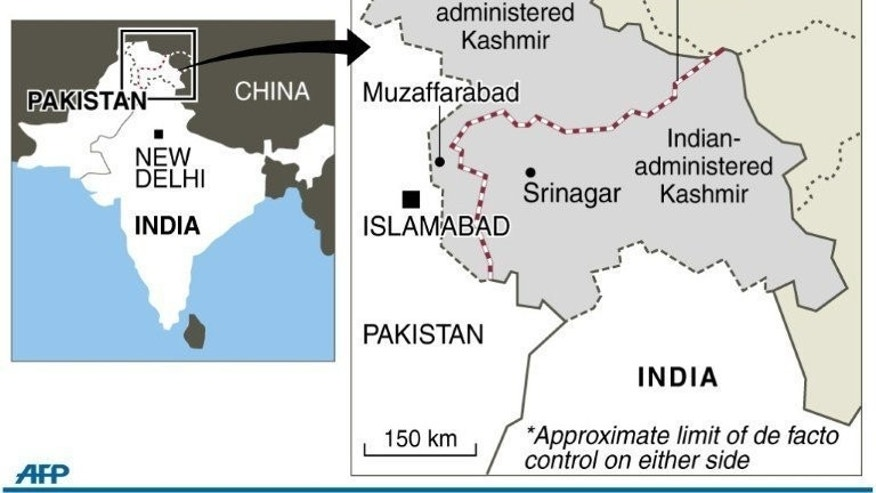 "Map of Kashmir showing the de-facto border known as the Line of Control (LoC) between India and Pakistan. Pakistan Prime Minister Nawaz Sharif has pledged to respond to rising tensions in disputed Kashmir with ""restraint and responsibility"" as officials accused India of killing another civilian by firing across the border."