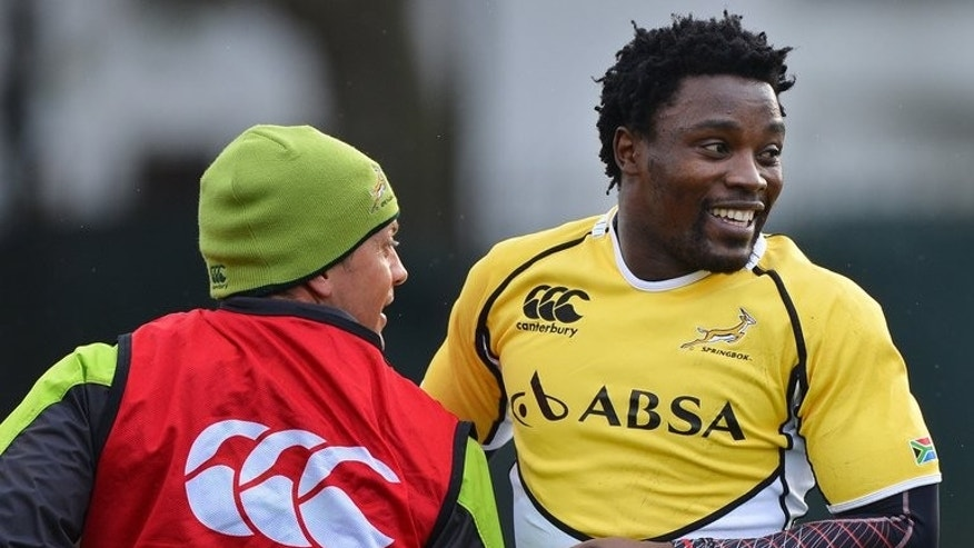 South Africa's Lwazi Mvovo takes part in a training session at their west London training base on November 20, 2012 ahead of the international rugby union Test match between England and South Africa on November 24. Race quotas will return to South African rugby next season in a bid to produce more top-level black players, the national body announced Wednesday.