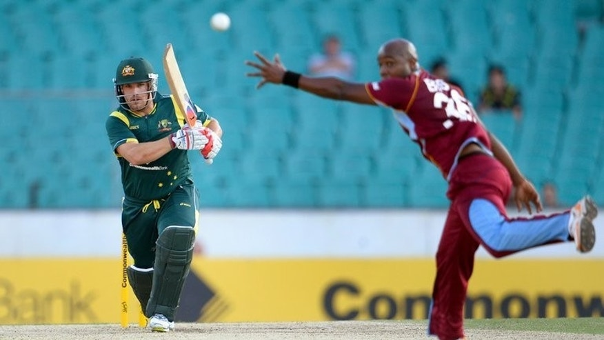 Australia's Aaron Finch (L) pictured during a one-day international against West Indies in Sydney on February 8, 2013. Finch was included in Australia's ODI squad after playing five consecutive ODIs against the West Indies last southern summer.