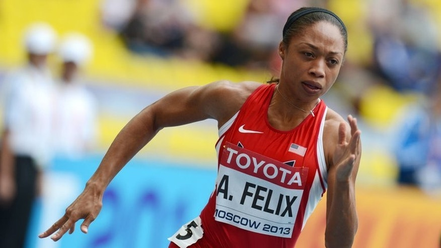 Allyson Felix competes during in the 200m event at the World Athletics Championships in Moscow on August 15, 2013. The 27-year-old will face Shelly-Ann Fraser-Pryce on Friday in what could prove to be one of the most memorable clashes of the week.