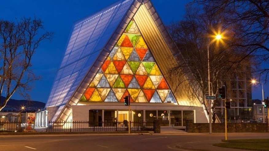 Image taken by Bridgit Anderson on August 8, 2013 shows Christchurch's cardboard cathedral, which officially opened on Thursday to replace the neo-Gothic structure destroyed in a 2011 earthquake that killed 185 people in the city.