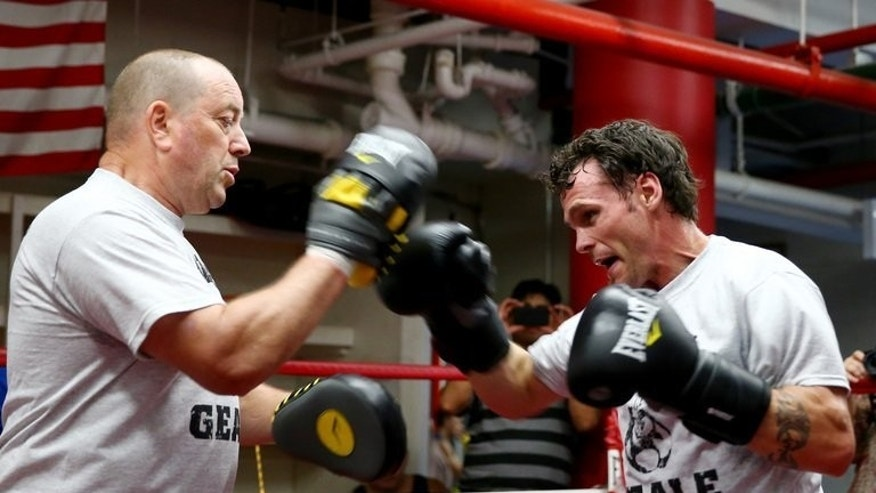 Daniel Geale of Australia works out during a training session on August 12, 2013, ahead of his middleweight bout against Darren Barker. He has vowed to restore Australia's pride following disappointment on the rugby field and cricket pitch this year.