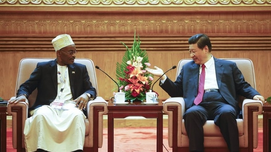 Comoros VP Fouad Mohadji (L) meets with Chinese President Xi Jinping at the Ministerial Forum of China-Africa Health Development in Beijing on August 16, 2013. Xi on Friday promised further medical cooperation with Africa, state media reported, as dozens of health ministers from the continent met in Beijing.