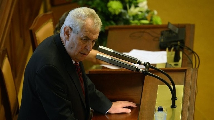 Czech president Milos Zeman delivers a speech on August 7 in the Czech Parliament in Prague. The Czech Republic will hold a snap election on October 25-26 if parliament votes to dissolve itself next week as expected, said on Friday.
