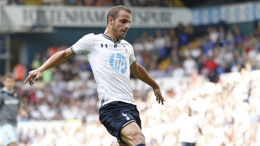 Tottenham Hotspur's Spanish striker Roberto Soldado during a pre-season friendly on August 10, 2013. Spurs invested heavily in a bid to boost their playing power this season