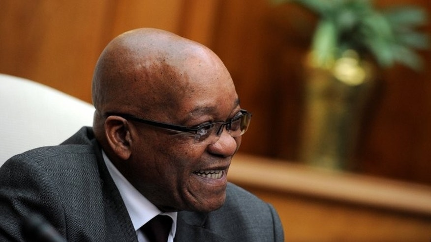 "South Africa President Jacob Zuma gives a press conference on July 29, 2013 at the Unions Building in Pretoria. A top court has given South Africa's prosecuting authority five days to release 2007 ""spy tapes"" used to dismiss corruption charges against Zuma."